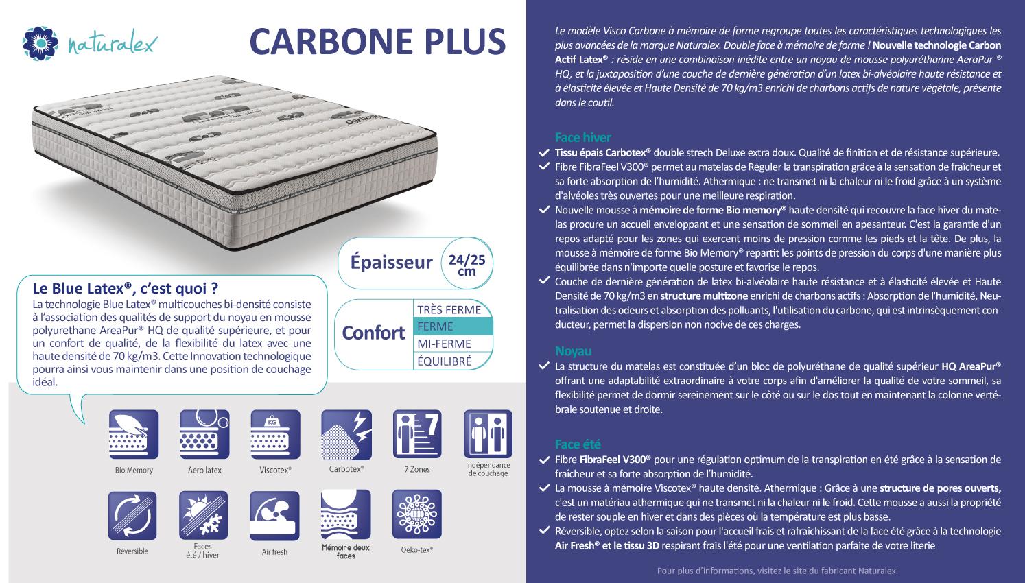 7 Zones de Confort 80 x 190 cm 25 cm Confort Tonique NATURALEX Matelas Visco Carbone M/émoire de Forme Bio Memory et Viscotex