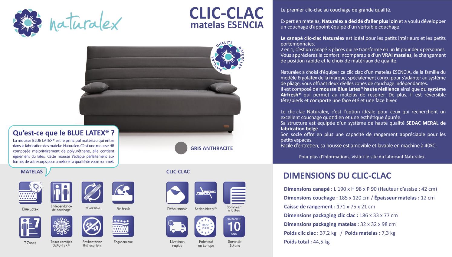 banquette clic clac 3 places matelas naturalex canap convertible achat vente clic clac. Black Bedroom Furniture Sets. Home Design Ideas